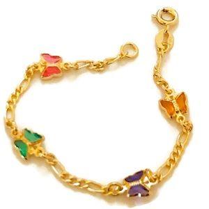 Multicolor Butterfly Goldfilled Bracelet